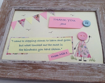 Personalised teacher thank you framed button picture.