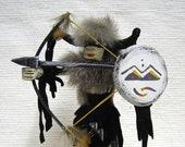 Native American Navajo Made Standing Buffalo Warrior Kachina Doll