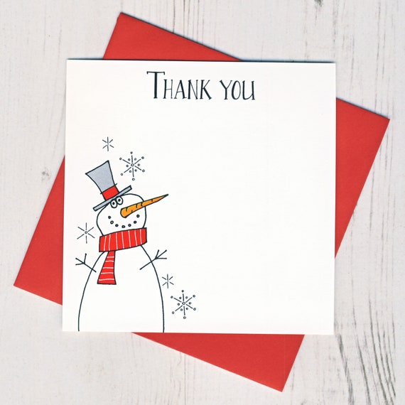 Box Of 12 Snowman Thank You Notecards