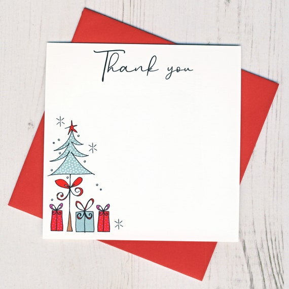 Box Of 12 Christmas Tree Thank You Notecards