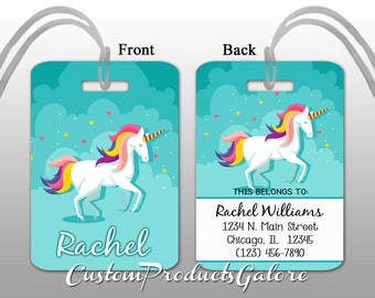 c5baaf9e8092 Unicorn luggage tag | Etsy
