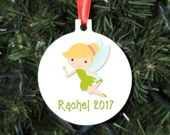 Tinker Bell Christmas Ornament, Personalized Christmas Ornament, Tinkerbell, Holiday Gift, Christmas Gift, Round Ornament, 2-sided
