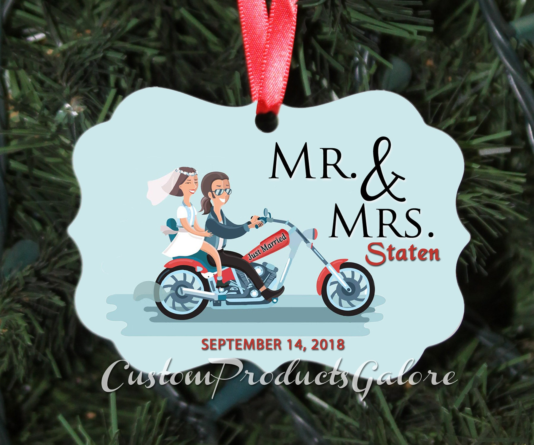 Just Married Christmas Tree Ornament Personalized Aluminum | Etsy