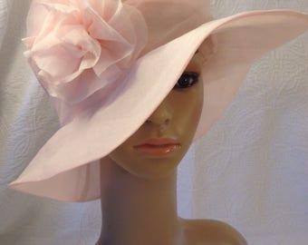 Hat  pink organdy derby or wedding hat with same fabric flower