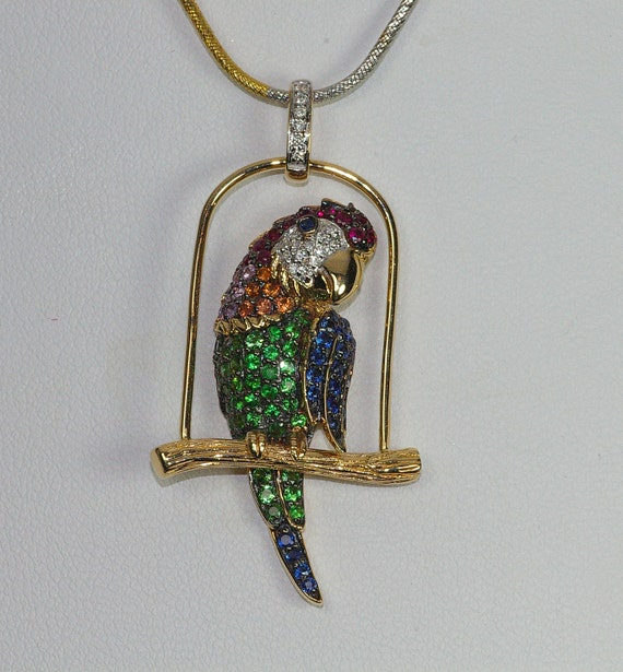 Kiola Designs Colorful Parrot Bird Head Pendant Necklace