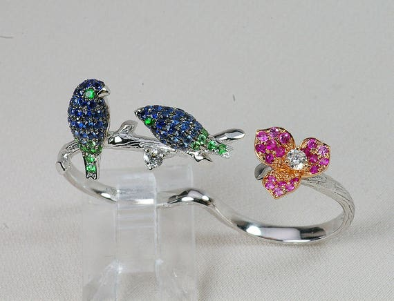 18k Designer Unique Twin Blue Bird Two Finger Ring White