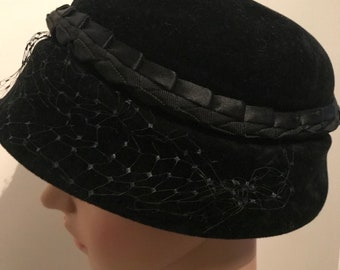 79036c73884 1950s Vintage Black Velvet Bucket Hat. Made in Italy. Maurice Rothschild  label