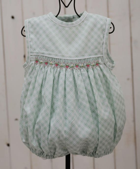 4abd81dc4dd Green and white window check romper with strawberries