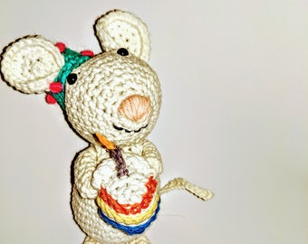 Benjamin the crocheted Birthday Mouse