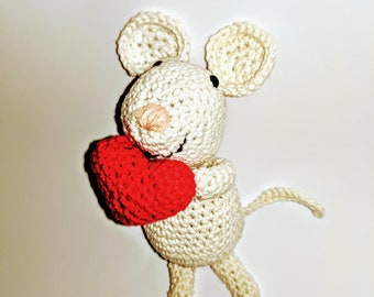 Nigel the crocheted Mouse with Heart