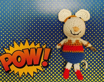 Diana the crocheted Wonder Mouse (inspired by Wonder Woman)