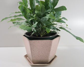 SECONDS Medium Hexagon Planter with Saucer - Pink Granite Matte Glaze *Discounted 30% OFF*