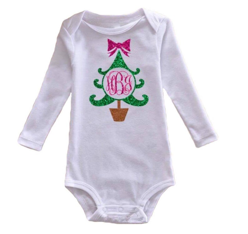 Christmas Tree Onesie.Glitter Christmas Tree Onesie Holiday Outfit Monogrammed Onesie Initials 1st Christmas First Christmas Baby Girl Clothes