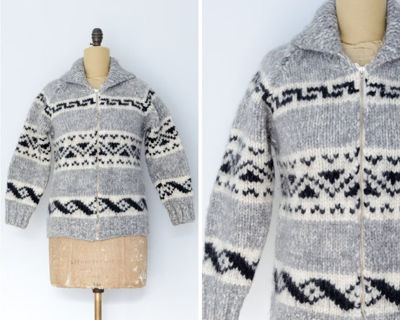 Cowichan Sweater with Geometric Design    Made in Canada  4c4d254e6