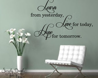 Learn Live Hope Inspirational Wall Decal , Living Room Decal, Wall Decal, Home Decor, Vinyl Wall Decal, Decal, Sticker, Wall Decor, Vinyl