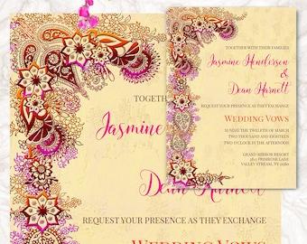 Indian Wedding Invitation - Printable Wedding Cards - Wedding Announcement - Henna Mehndi Invite - Digital File   JASMINE