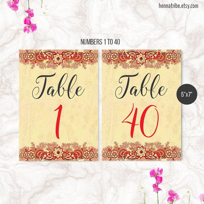ARIA Hindu Wedding Table Numbers Instant DOWNLOAD Red Indian Wedding Decor Printable Numbers DIY 5x7 Numbers 1-40
