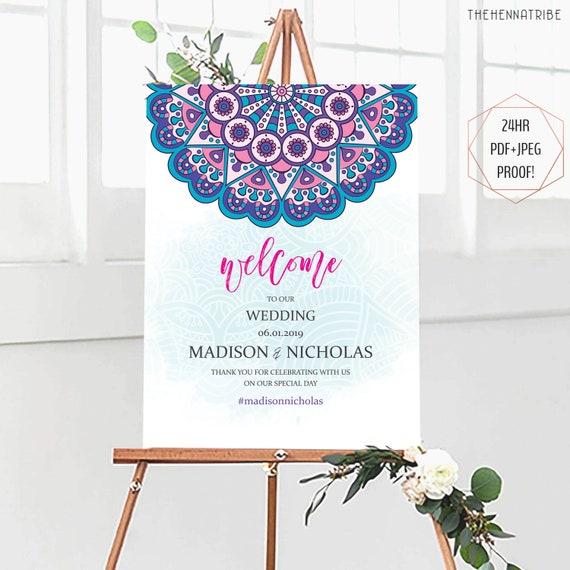 Mandala Wedding Welcome Sign for Indian Bollywood Boho Wedding, Sangeet  Mehndi Night