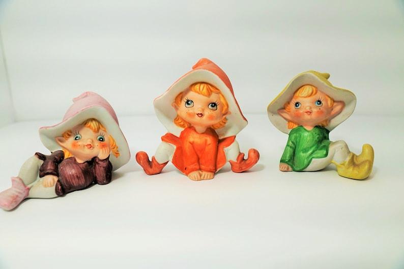 3 piece Homco #5213 bisque Pixie Figurine Set