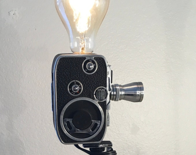 Unique Retro Camera lamp . Vintage  Paillard L8 8mm movie camera lamp with tripod . Original gift idea. Great for a photographer.