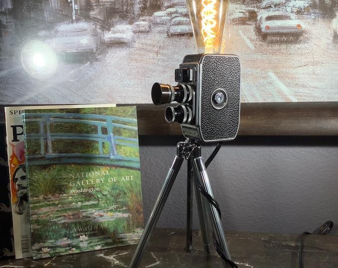 Retro Vintage  Pallard Bolex movie camera lamp on tripod. Table lamp. Movie Film buffs. Handcrafted. Original gift idea