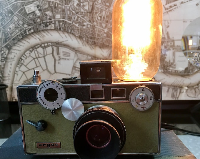 Lighting lamp upcycled vintage Argus camera light