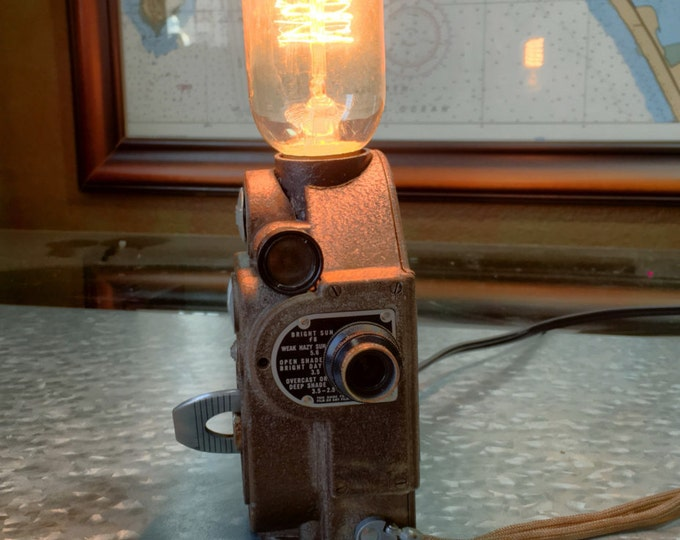 Lamps, lighting. Unique gift.  Vintage Revere 8 movie camera. Wonderful one of a kind Christmas gift.