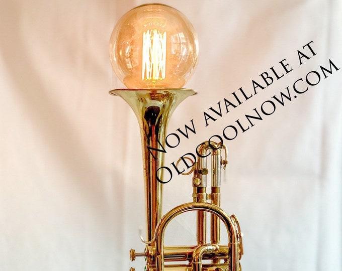 Vintage cornet lamp on slate base.