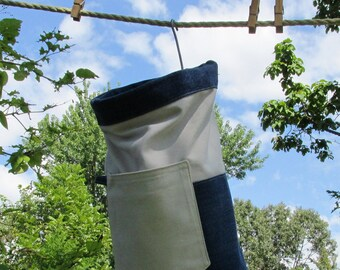 Extra Large Heavy Duty Granny's Clothespin Bag, Ready to ship, Mom gift, off-grid laundry, custom colors available, fully lined