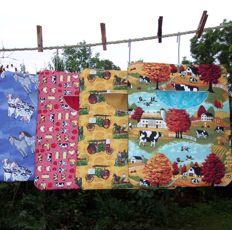 Assorted Farm Print Large Old-fashioned Heavy Duty Clothespin Bag