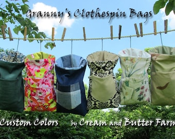 Large Heavy Duty Granny's Clothespin Bag of durable fabrics, Mom gift, off-grid laundry, linedrying instructions; fully lined