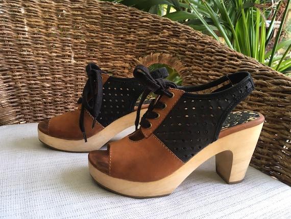 Gorman lace-up Clogs, 5.5 / 36, brown & black