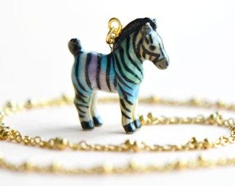 2e00561e5beba Rainbow Zebra Necklace • Hand Sculpted Porcelain Zebra Pendant • Hand  Painted Zebra Jewelry • Collectible Gift • Animal Lover Gift (AP030)