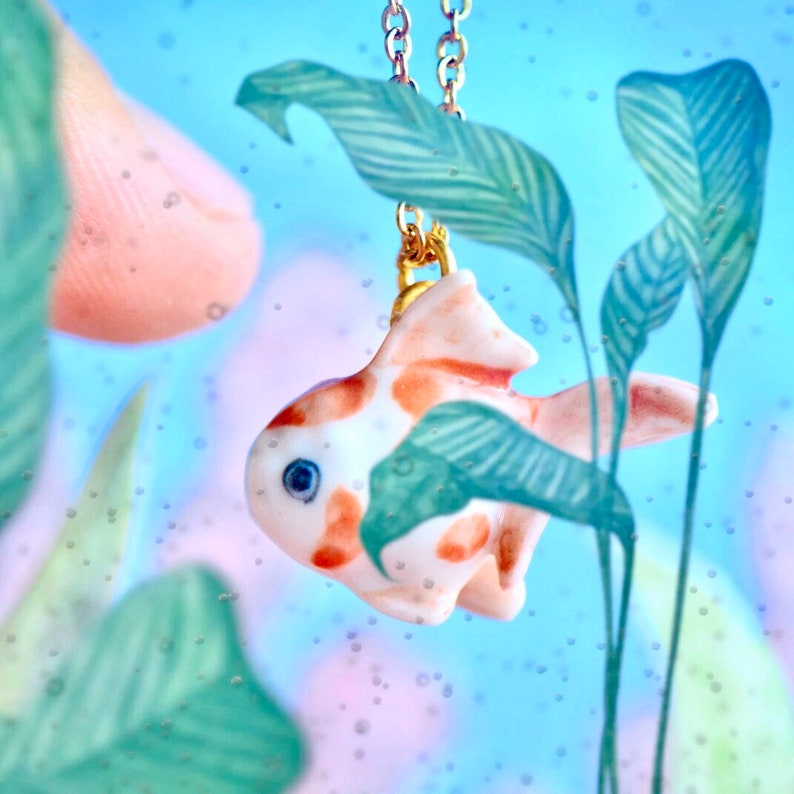 AO023 Tiny Pet Goldfish Necklace \u2022 Happy Pet Day \u2022 All Pets Go to Heaven \u2022 The Perfect Gift and Story!