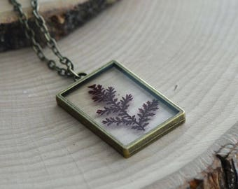 Double Sided Glass Nature Preserved RED Fern Leaf Necklace - Vintage Style (BC019)