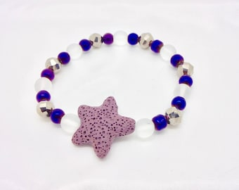 Bright Purple Shooting Star Essential Oil Bracelet