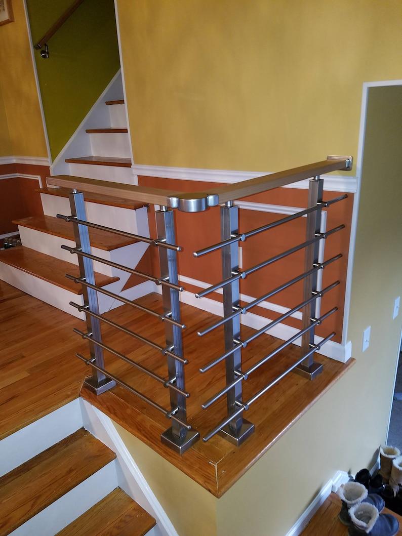 Modern Square Stairs Balcony Hand Rail Staircase Railing Kit   Aluminium