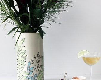 White Flower Vase, Ceramic Vase, White  Vases, White home Decor, Vase, Home Decoration, Gift for Her, Contemporary Home Decor, Pottery Vase