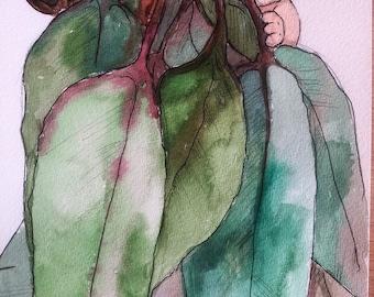 Original, hand painted watercolour of gum tree baby