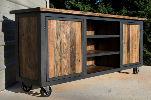 Reclaimed Wood Tv Console Industrial Tv Stand Reclaimed Wood Etsy