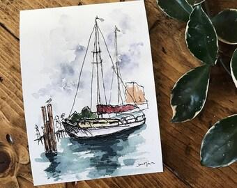 Orignal Artwork - Sailboat PRINT - Sailboat Art - Sailing - Lake Superior- Sailboat Painting - Size options available