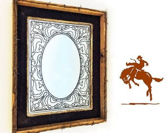 Framed Mirror with Barbed Wire, Rope and Barnwood; Vintage Western Wall Decor