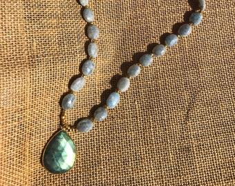 Labradorite Pendant Necklace with Stunning Silverite Beads