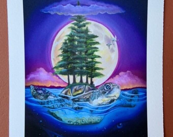 """Great Turtle by Rosemary Allen - 5""""x6"""" Fine Art Print"""