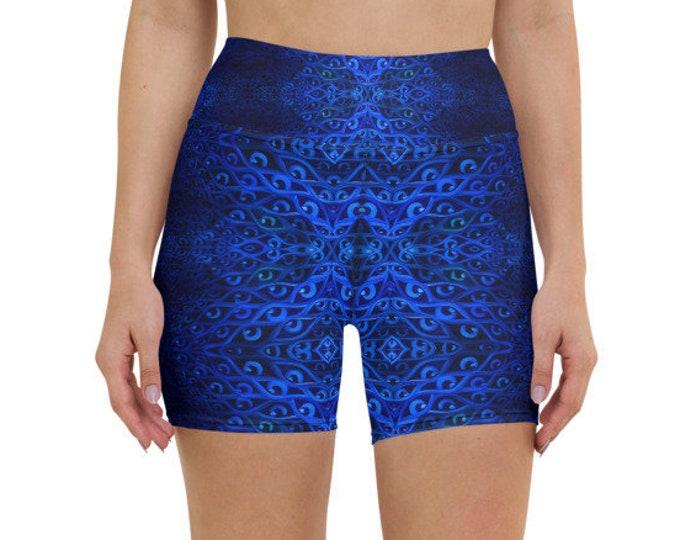 Royal Blue Eyes Yoga Shorts