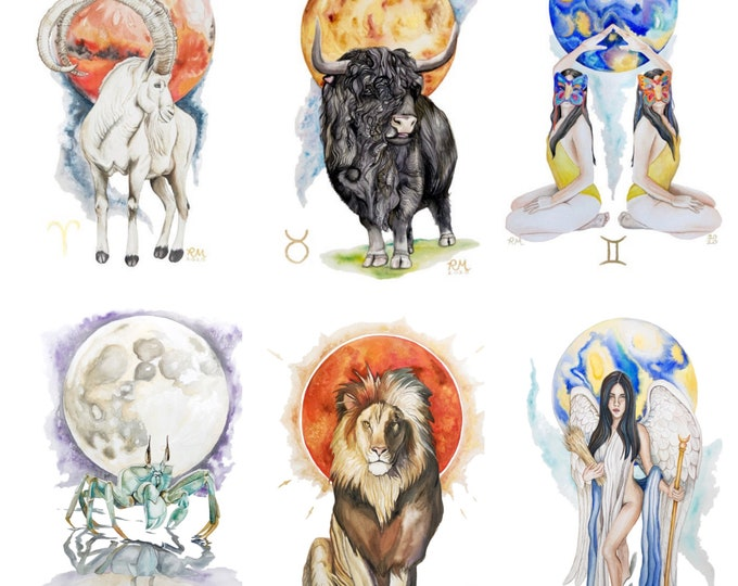 Zodiac Astrology Sign Fine Art Prints - Aries, Taurus, Gemini, Cancer, Leo, & Virgo