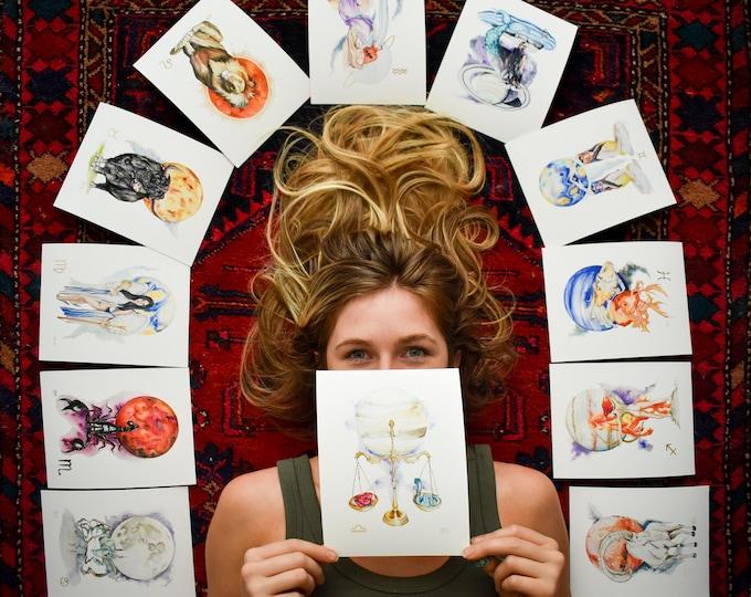 Zodiac Astrology Sign Fine Art Prints - Aries, Taurus, Gemini, Cancer, Leo, & Virgo