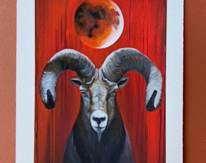 """Blood Moon Ram by Rosemary Allen - 5""""x7"""" Fine Art Print"""
