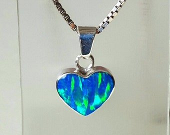 Blue Opal Sterling Silver Heart Pendant Necklace.