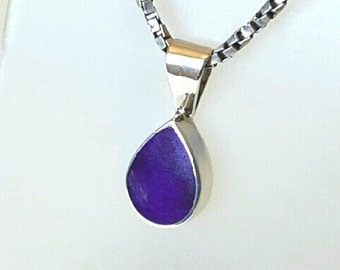 Sterling Silver Inlay Sugilite Pendant Necklace